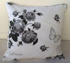 Kissenbezug ROSALIE 45x45 cm Rosen Weiß Grau Schwarz Blumen floral Landhaus