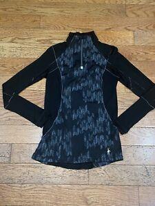 SMARTWOOL PhD Women's Merino Wool 1/4 Zip Baselayer Pullover Top Sz XS Black