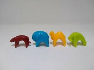 Lot of 4 Parcheesi Replacement Tokens Movers 1 Each Tiger Camel Elephant Buffalo