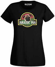 Womens Jurassic Pug T-Shirt - Funny t shirt retro dinosaurs dog pet cute joke