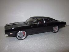 HOT WHEELS 1:18 SCALE 1969 DODGE CHARGER R/T V-10 VIPER CUSTOM BLACK/BLACK RARE!