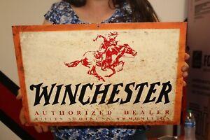 "Vintage 1950's Winchester Gun Dealer Rifle Shotgun Hunting 18"" Metal Sign"