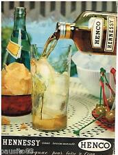 PUBLICITE ADVERTISING 095  1957  HENNESY cognac HENCO