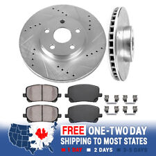 FRONT DRILLED AND SLOTTED BRAKE ROTORS & CERAMIC PADS 03-08 VIBE COROLLA MATRIX