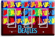 THE BEATLES POP ART JOHN GEORGE PAUL RINGO TRIPLE GFCI LIGHT SWITCH COVER DECOR