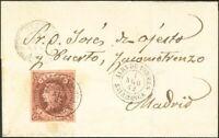 España. Castilla And León. History Postal. Over 58. 1862. 4 Cuartos Castaño. Al