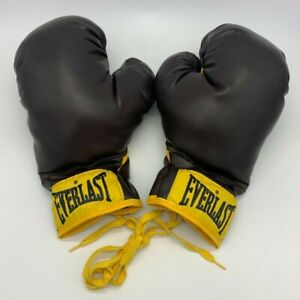 Vintage Everlast Boxing Gloves 14 oz Burgundy Yellow Label PRISTINE Condition