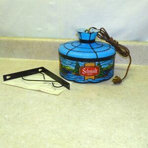 Vintage Schmidt Beer Hanging Tiffany Lamp, Electric Light, Works New Old Stock 1