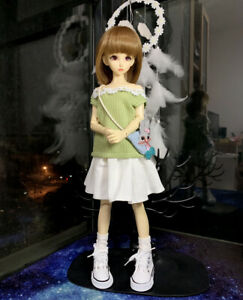 1/4MSD BJD Clothes Casual Doll Outfit Sweater+Skirt+Bag+Socks+Shoes Green/Pink