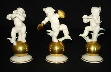 HUTSCHENREUTHER THREE MUSICIAN CHERUBS W/GOLD BALL FIGURINES BY K TUTTER GERMANY