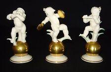 HUTSCHENREUTHER THREE MUSICIAN CHERUBS W/GOLD BALL FIGURINES BY K TUTTER GERMANY