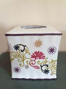"NEW Bed, Bath & Beyond Ceramic Tissue Box Cover Ivory Color Purple Trim 5.75""H"