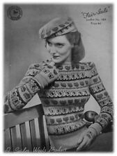 Ladies' 1940s 3 Ply Butterflies Jumper, Gloves and Beret Knitting Pattern 00189