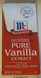 McCormick All Natural Pure Vanilla Extract 4 fl oz. Non GMO Brand New