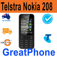Brand New Telstra Prepaid Nokia 208 - 3G Black Mobile Phone