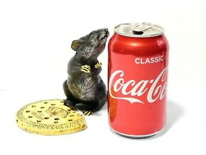 Antique Bergmann Signed Cold Painted Vienna Bronze Mouse with Biscuit 11cm tall