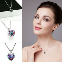 Romantic Rainbow Heart Pendant Silver Necklace Gift Jewelry Chain Topaz 925 New