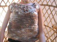 "Hand Knit Doll Clothes Brown Shades Top fits 16"" fashion doll as Tonner Tyler"