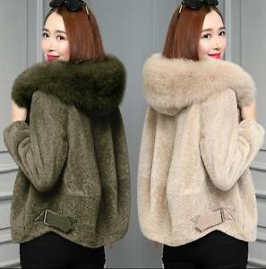 Womens Sheep Shearing Faux Fur Short Peacoat Hooded Thicken Coat Slim Jacket New
