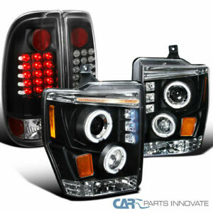 08-10 Ford F250 F350 Super Duty Black Projector Headlights+LED Tail Brake Lamps