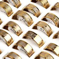 12pcs Gold Mixed Men's Fashion Stainless Steel Rings Wholesale Jewlery Job lot