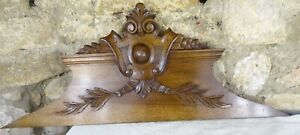 """36"""" Antique French Hand Carved Wood Solid Walnut Pediment -   19th"""