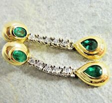 Estate 1.80ct Quality Natural Colombian Emerald & Diamond Earrings 14K Gold