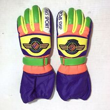 Vintage Asics Sport Snow Gloves Size Medium Neon Color Block 1980s Ski Snowboard