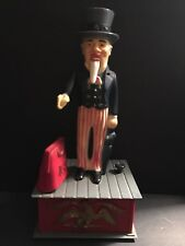 UNCLE SAM IRS TAXES VINTAGE MECHANICAL PLASTIC COIN BANK - WORKS! - AMERICANA