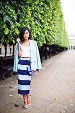 Zara Rock Pencilskirt Gr. S 36 Blau hellblau Streifen Blogger ausverkauft