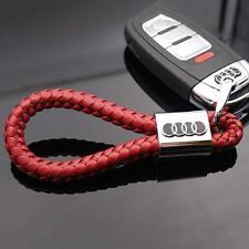 Llavero Audi, en cuero sintetico trenzado rojo, gran calidad.