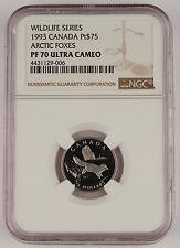 Canada 1993 $75 1/4 Oz Platinum Proof Coin NGC PF70 UC Wildlife - Arctic Fox