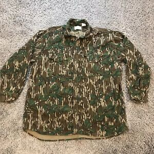 Vintage Mossy Oak Mens XL Green Leaf Button Up Long Sleeve Shirt Made in USA