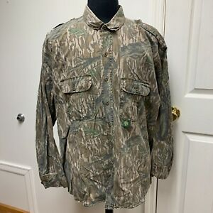 VTG Mossy Oak Original Tree Stand Camo Long Sleeve Button Shirt 2XL XXL USA Made