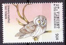 Boreal Owl, Birds of Prey, Owls, St. Vincent & Gr. 2001 MNH