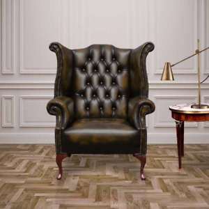 Chesterfield Queen Anne Wing Handmade Chair Antique Genuine Leather