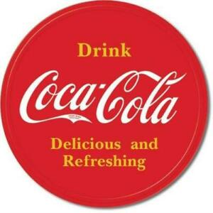 Desperate Enterprises Tin Sign - COKE - Button Logo - Round 30 cm Diameter