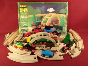 VINTAGE BRIO WOODEN TRAIN SET NO 33120 IN BOX + EXTRAS BRIDGE OVERPASS TRUCK +++