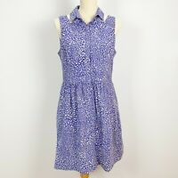 CUE In The City Size 12 100% Cotton Blue Cream Dress Fit Flare Pockets Collared