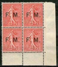 """FRANCE:  """"Franchise militaire"""" F.M.n°4 ** en bloc de 4 CdF  (cote 520€)"""