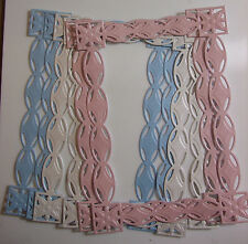 6 Large Die-cut Frames for Cards Scrapbooking Baby Colours Blue/Pink/Iridescent