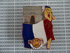 Hard Rock Cafe PARIS - Flag & Landmark - Sexy HRC Girl Series Pin New on card