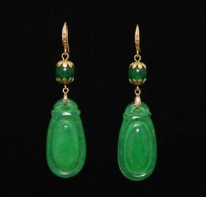 Pair Old Chinese Natural Green Jadeite Jade Earring