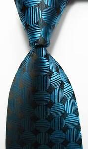 New Classic Polka Dot Sea Blue  Black JACQUARD WOVEN 100% Silk Men's Tie Necktie