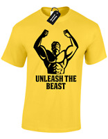 UNLEASH THE BEAST MENS T SHIRT GYM TRAINING TOP CROSSFIT LIFTING WEIGHTS MODE