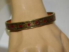 Reed & Barton Damascene Red Enamel Floral Gold tone Bangle Bracelet  3k 34
