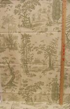 Toile Fabric Children Playing Games In Garden Green On Marble Cream & Tan