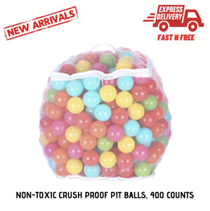 Non-Toxic Pit/Play Balls Crush Proof 6 Colors Durable Storage Bag Zipper 400 Ct