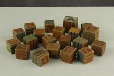 Vintage 19PC LOT Toy Wooden Childrens Story ABC Blocks ANIMALS Ribbed
