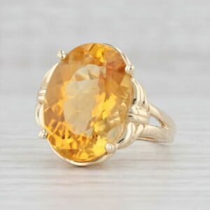 12ct Orange Citrine Cocktail Ring 14k Yellow Gold Size 9.25 Oval Solitaire